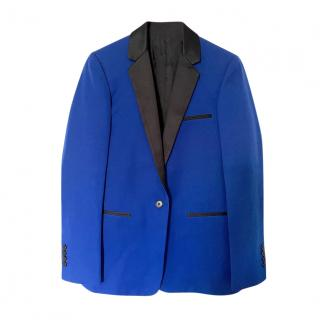 Celine by Phoebe Philo Blue Wool Contrast Collar Tailored Jacket
