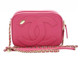 Chanel Pink Leather CC Mania Camera Crossbody Bag