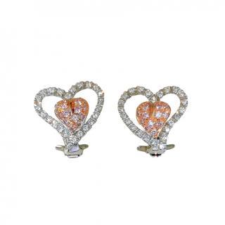 Leo Pizzo 18ct White Gold Pink & White Diamond Heart Earrings
