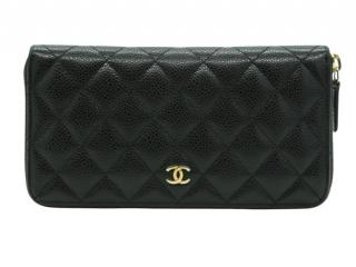 Chanel Black Caviar Leather Zip Around Wallet