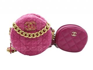 Chanel Pink Tweed 19 Clutch on Chain with Coin Purse