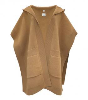 Burberry Camel Cashmere Blend Hooded Wrap Cape
