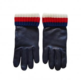 Gucci Navy Leather Cashmere Web Trim Gloves - Size 9.5