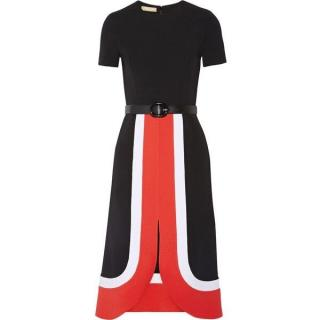 Michael Kors Collection black, red and white colourblock midi dress
