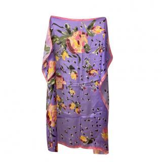 Missoni Purple Floral Print Silk Scarf 90