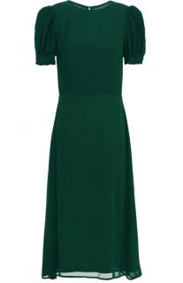 Reformation emerald green georgette midi dress