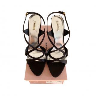 Miu Miu Black Satin Jewelled Sandals