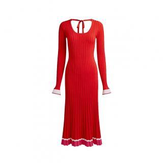 Prabal Gurung Red Pleated Ribbed Knit Midi Dress