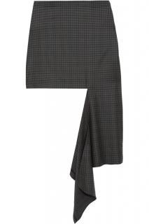 Balenciaga Checked Virgin Wool Asymmetric Runway Skirt