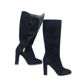 Rene Caovilla Mink Fur Lined Suede Boots