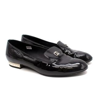 Chanel Black Patent Leather Pearl Heel Loafers