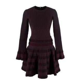 Alaia Burgundy & Black Stretch Knitted Top & Mini Skirt Set