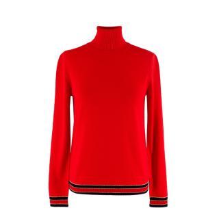 Gucci Red Striped Hem Fine Knit Rollneck Jumper