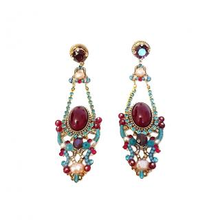 Satellite Paris Cabochon, Pearl Beaded Drop Earrings