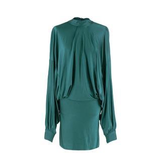 Alexandre Vauthier Deep Green Liquid Jersey Batwing Sleeve Dress