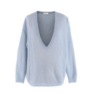 Brunello Cucinelli Pale Blue Mohair Blend Open Weave V-Neck Jumper