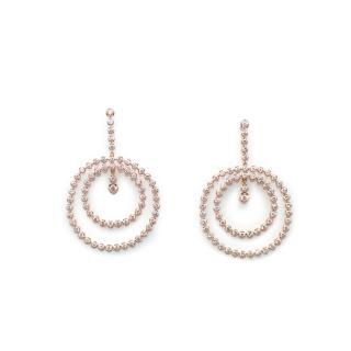 Bespoke 18ct Rose Gold & Diamond Double Circle Drop Earrings