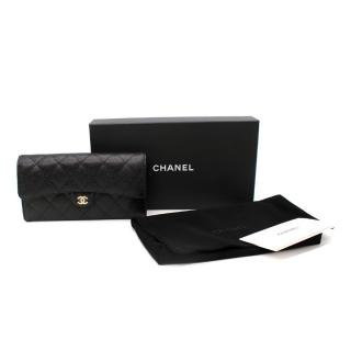 Chanel Black Caviar Calfskin Quilted Leather Classic Flap Long Wallet