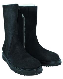 Rick Owens Black Suede Platform Calf Boots