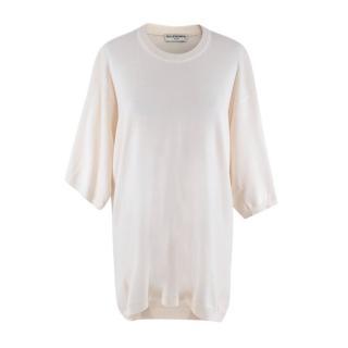 Balenciaga Cream Knitted Half Sleeve Sweater