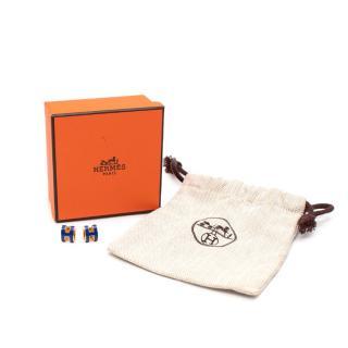 Hermes Pop H Bleu Royal & Gold Earrings