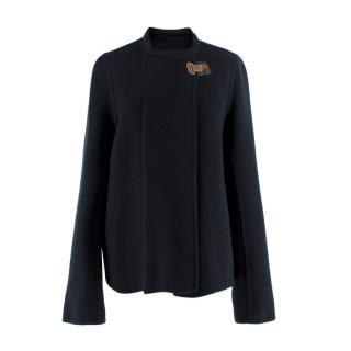 Hermes Black Cashmere Round Neck Wrap Jacket