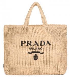 Prada Sold Out Current Logo Print Raffia Shoulder Bag