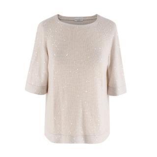 Brunello Cucinelli Silk & Linen Sequin Embellished Knit T-Shirt
