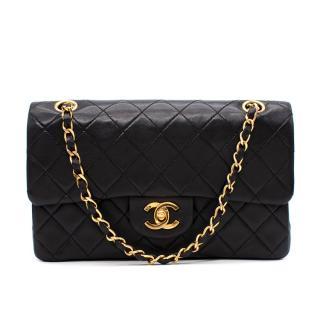 Chanel Vintage Black Lambskin Small Classic Double Flap Shoulder Bag