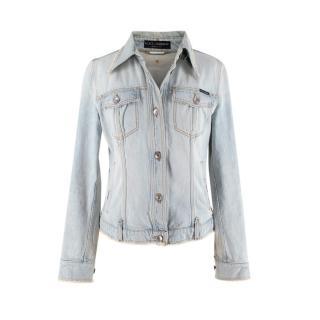 Dolce & Gabbana Light Wash Denim Frayed Trim Jacket
