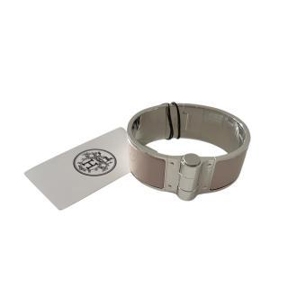 Hermes Marron Glace Large Uni Charniere Wide Hinge Bracelet PHW