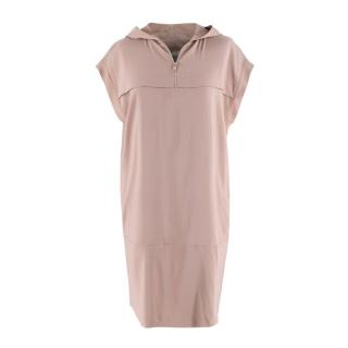 Brunello Cucinelli Dusty Pink Silk Hooded Sleeveless Dress