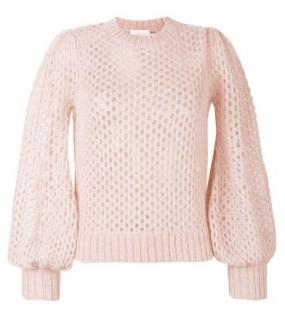 Zimmermann Pink Open Knit Puff Sleeve Jumper