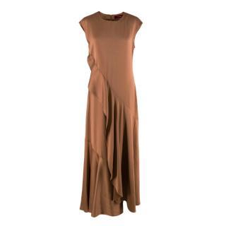 Sies Marjan Zariah Copper Satin Draped Maxi Dress