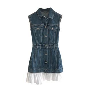 Alexander McQueen Silk Trimmed Denim Sleeveless Dress