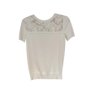 Erdem Ivory lace Detailed Short Sleeve Top