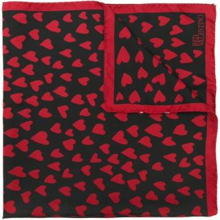 REDValentino Black & Red Heart Print Silk Scarf