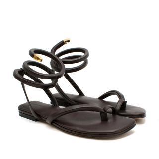 Bottega Veneta BV Spiral Chocolate Brown Flat Sandals