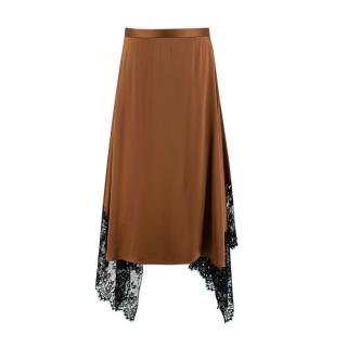 Christopher Kane Chantilly Lace Trimmed Copper Satin Slip Skirt