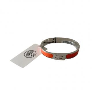 Hermes Orange Mat Enamel Jet Bracelet PHW Sold Out