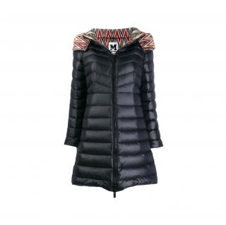 M Missoni Black Quilted Down Hooded Coat