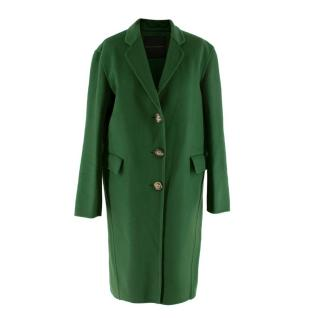 Ermanno Scervino Deep Green Felted Wool Mid-Length Coat