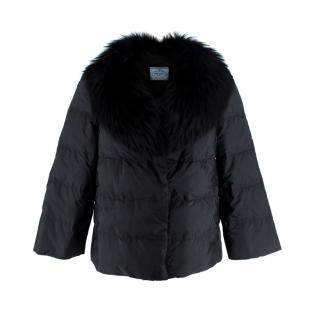 Prada Black Fox Fur Collar Padded Jacket