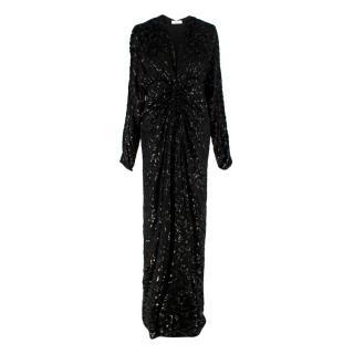 Racil Rita Black Leopard Devore Ruched Midi Dress