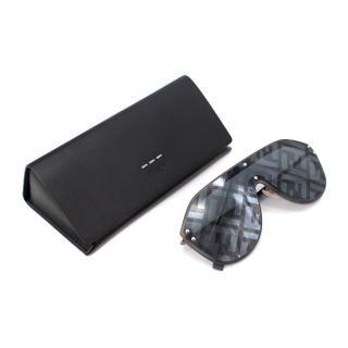 Fendi Black Rubber Trimmed Aviator Logo Lens Sunglasses