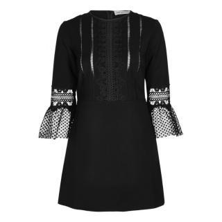 Self Portrait Black Lace trimmed mini dress