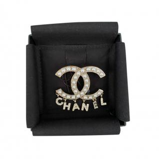 Chanel Faux Pearl Embellished CC Crystal Letters Pin Brooch