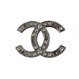 Chanel Crystal Embellished CC Brooch