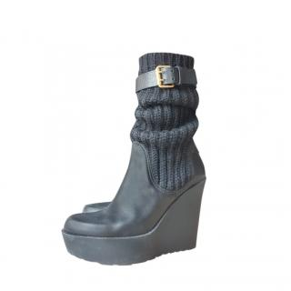 Gucci Leather & Cable Knit Wedge Boots