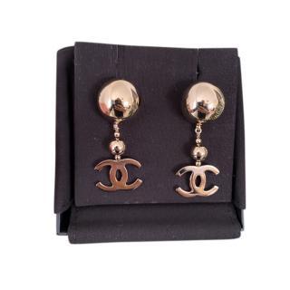 Chanel Gold Tone CC Bauble Drop Earrings